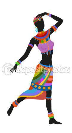 Mujer africana de danza étnica — Vector de stock #107754890