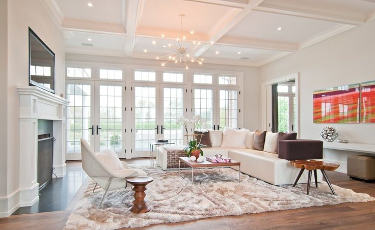 Wall of french doors living room transitional with