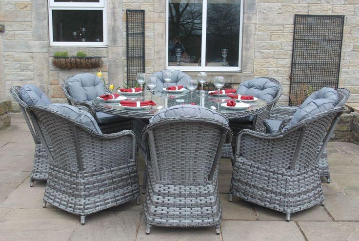 Luxury Grey Rattan 4, 6 or 8 Seat Round Dining Set Garden Conservatory Furniture | eBay