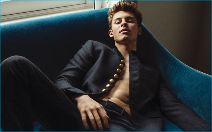 Shawn Mendes graces the pages of L'Uomo Vogue, wearing a fall-winter 2016 look from Saint Laurent.