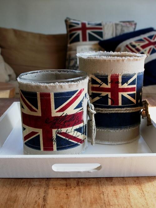 Collectie woonaccessoires met Engelse vlag, met o.a handgemaakte windlichten uit ontwerpstudio thuis met Moon
