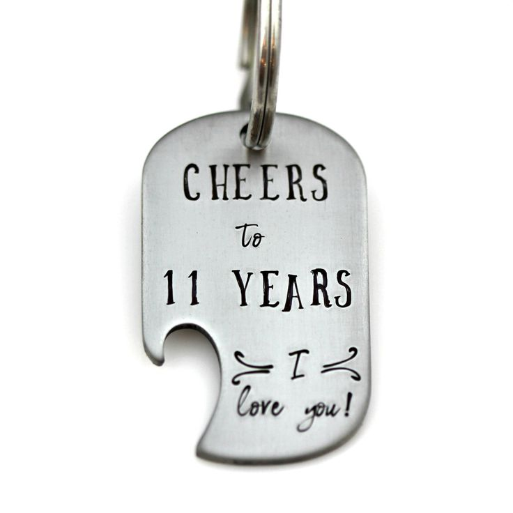 11 Year Anniversary Bottle Opener Keychain Hand Stamped Stainless Steel