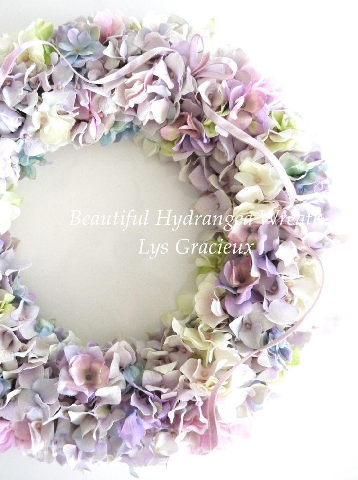 紫陽花リース♪ の画像|札幌・円山 Lys Gracieux(リスグラシュ)ポーセラーツ・クレイ・フラワー