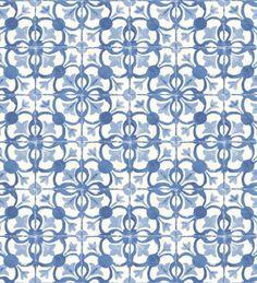 Papel pintado azulejos vinílico para cocina azul cobalto y blanco - 2019897