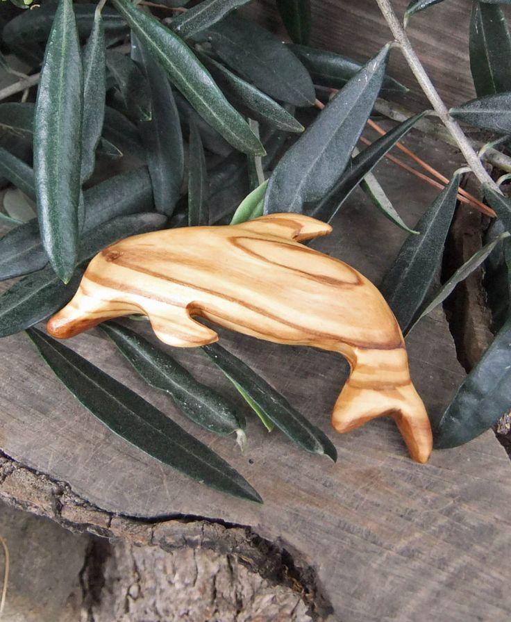 Dolphin hair barrette, hand carved Olive wood by ellenisworkshop on Etsy