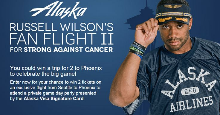 Alaska, Oregan & Washington ONLY and who are also members of the Alaska Airlines Mileage Plan  Alaska Airlines - Russell Wilson's Fan Flight II Giveaway  56 Prizes each consisting of: 2 round-trip coach Alaska Airlines tickets between Seattle and Phoenix; 2 Nights hotel accommodations, double occupancy in Phoenix, AZ.; Ground transportation to and from the Phoenix, AZ airport; Admission for 2 to a private game day party... https://www.facebook.com/alaskaairlines/app_363652507150723