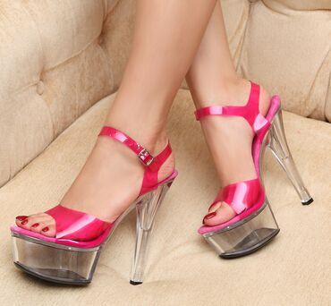 Plus: 34-41 cor Neon Verão das sandálias das mulheres sapatos de casamento 15 cm femininos capa saltos altos finos bombas de plataforma de cristal transparente