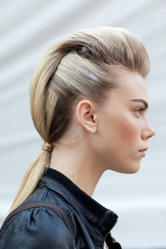 Clover Canyon's take on the ponytail gave the impression of a faux-hawk, but one that was still feminine and pretty, thanks to a soft fullness through the top.