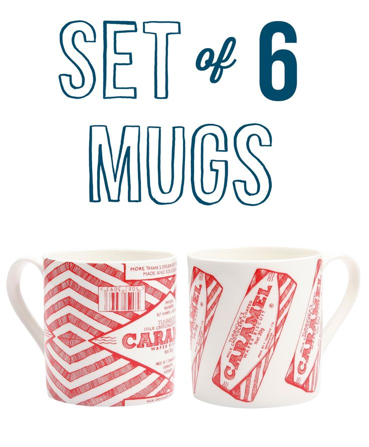 This set includes 3 x Caramel Wafer Repeat & 3 x Caramel Wrapper Mugs. These quirky Tunnocks mugs celebrate the world famous Scottish biscuit – the Caramel Wafer – invented back in the early 50's by Mr Tunnock himself. Perfect for biscuit lovers – and the lovely bright red will add a splash of colour to your kitchen.