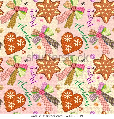 Christmas seamless background with gingerbread, candy shape of hearts and stars,vector bows and pastries on decorative background