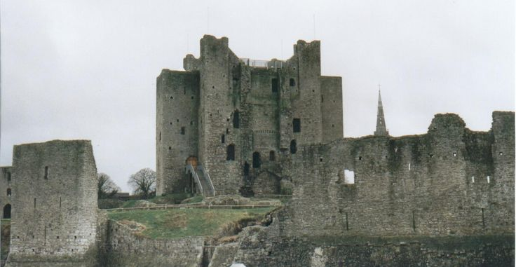 Trim Castle, Co. Meath Rear view of castle near river bank.