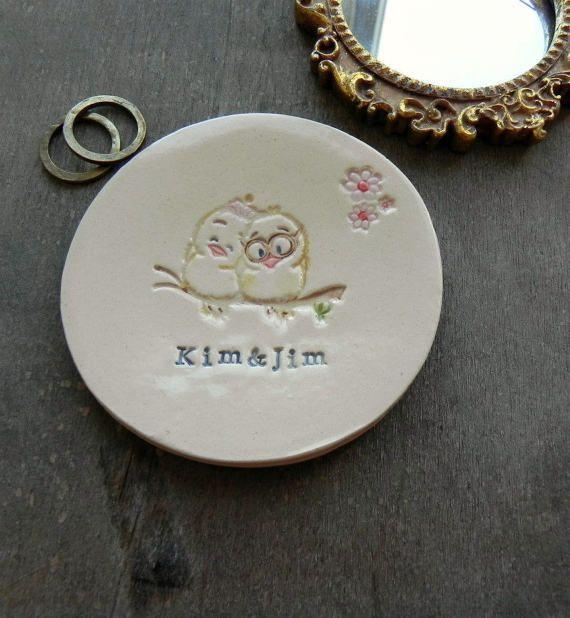 Personalized Little Birds Wedding Ring Holder Bird Couple
