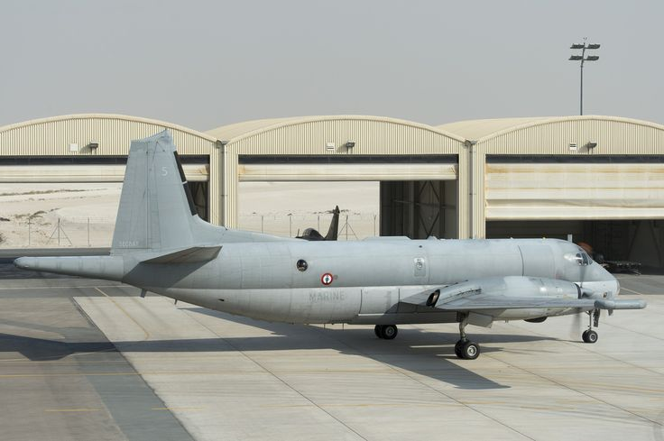 French Marine Nationale Aeronavale Breuget Atlantique II (or ATL 2) on runway at base aérienne 104 d'Al Dhafra, in United Arab Emirates. The navy's marine patrol aircraft is being used for reconnaissance over Iraq and support for the Dassault Rafale strike aircraft of the Armée de l'Air, and probably for other allied aircraft too. French perfected using this marine patrol aircraft over land in their several African campaigns, Mali and Central African Republic in particular.