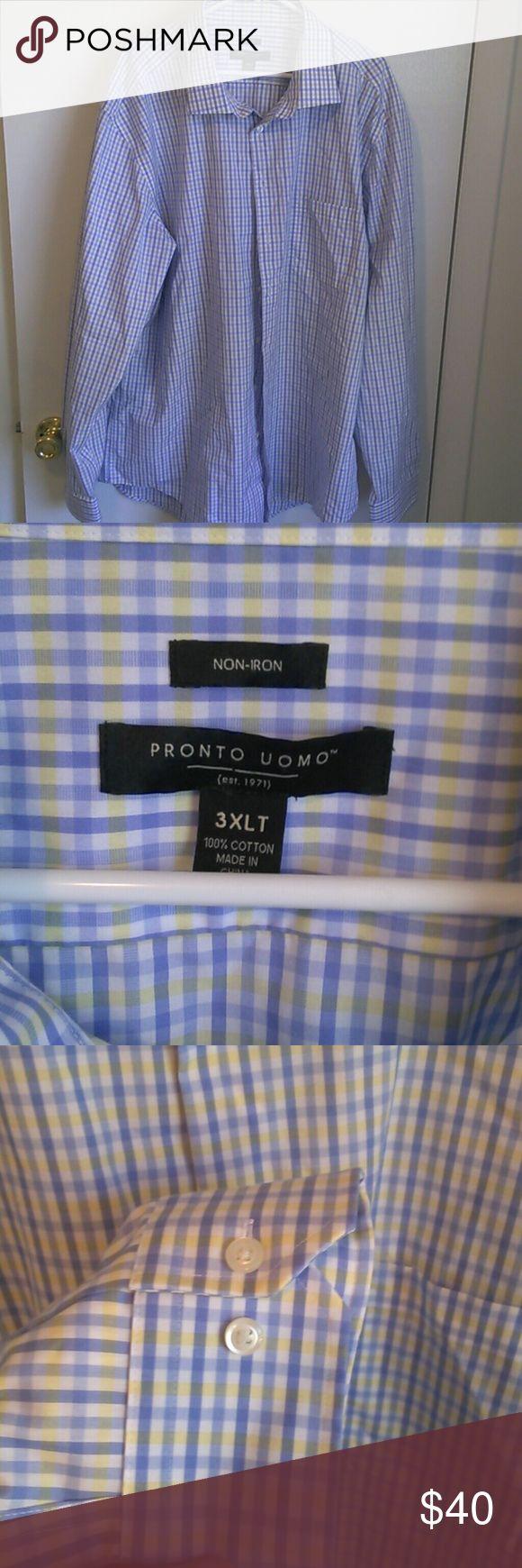 Pronto uomo 3xlt non iron dress shirt Fits like a 3xl Shirts