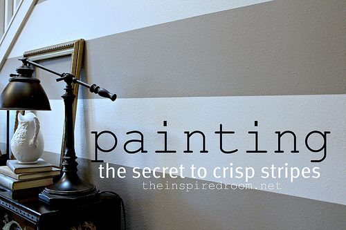 good tip for painting stripes on walls: Crisp Stripes, Stripes Wall, Paintings Stripes, Wall Paintings, Wall Stripes, Paintings Wall, Paintings Color, Paintings Crisp, Accent Wall