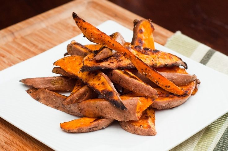 sweet potato wedges...easy and delish! to sweeten them up use virgin ...