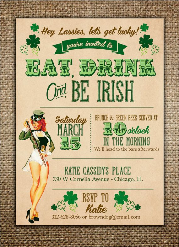 Irish Theme Hen Party Invitation #henpartyinvitation #bachelorettepartyideas #irishtheme