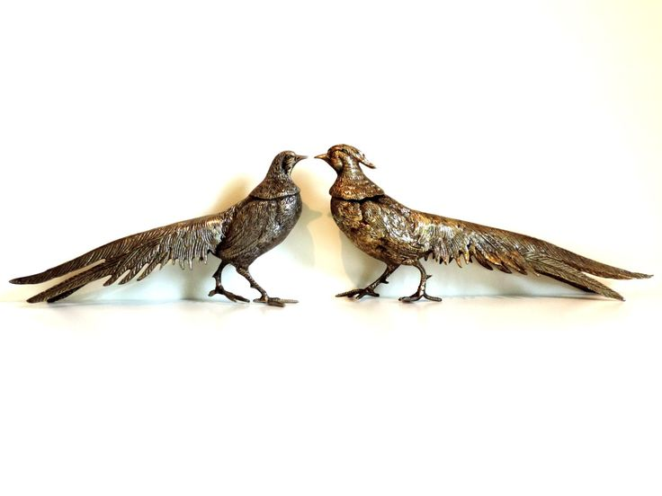 French Vintage Pheasant Figurines/Silver Plated Pheasants/Pheasant Statues Set of 2/Silver Bird Figurines/Pheasants by SouvenirsdeVoyages on Etsy https://www.etsy.com/listing/471790616/french-vintage-pheasant-figurinessilver