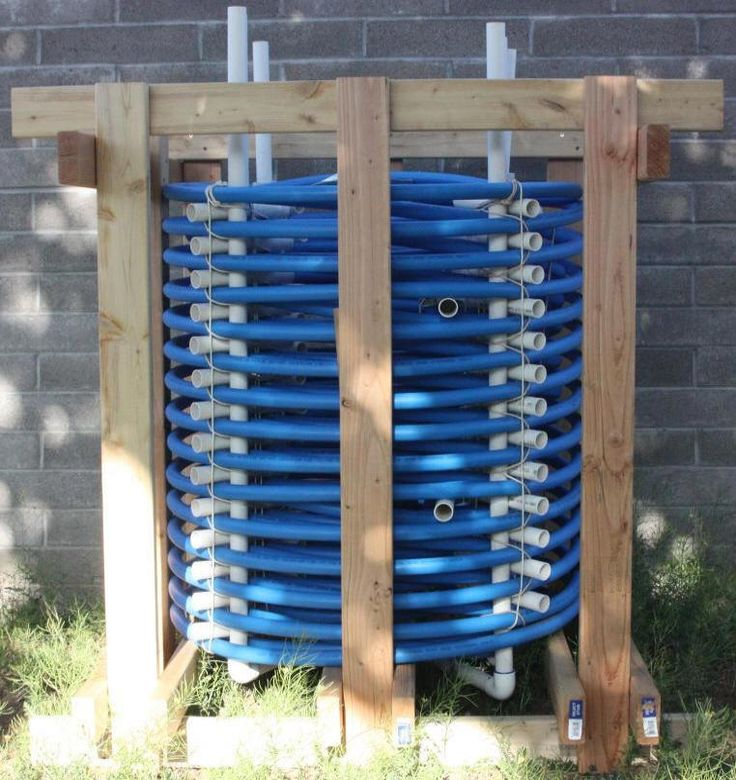 Large heat exchanger from pex coil radiant floor heating - Homemade swimming pool heat exchanger ...