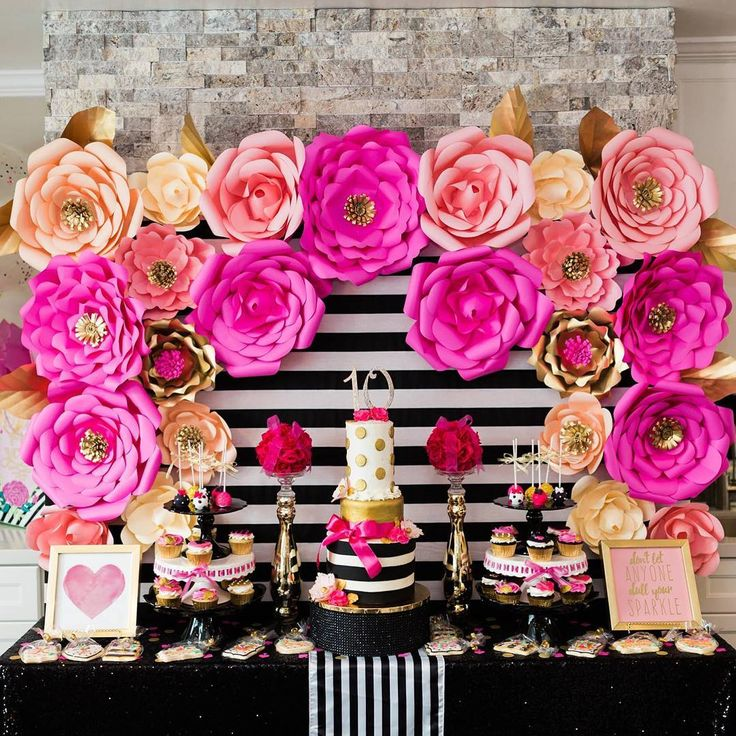 Kate Spade Themed 10th Birthday Party for Angelina.  Paper flowers. Hot pink, black, white and gold design. Dessert table. Gift table. Photo booth. Tablescape decor. Designer: Nikki Underwood Photography: Kiss Me Again Photography  Paper Flowers: Cutesy Craftique  Cake & Cupcakes: Pippi Cakes  Cake Pops: Sunshine Cake-Pop Shoppe  Cookies: NBT - Nothing But Treats  Photo Booth: The Party Box Photo Booth