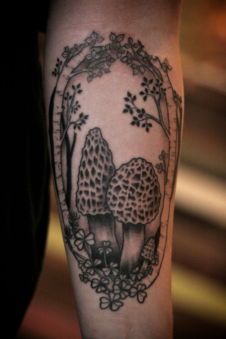 Morel mushrooms tattoo by Alice Carrier. Portland, OR