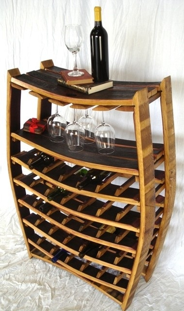 Custom Large Wine Barrel Rack with glass holders- 100% recycled Napa barrels by Wine Country Craftsman | CustomMade.com