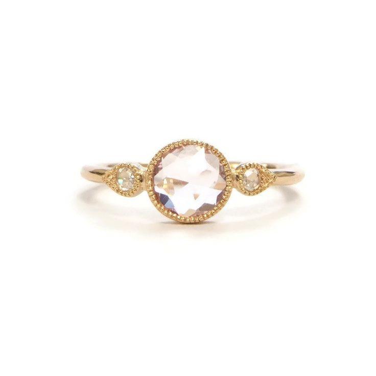 Bague Amour Céleste XL Saphir Rose Pastel & Diamants - Myrtille Beck 1650 €