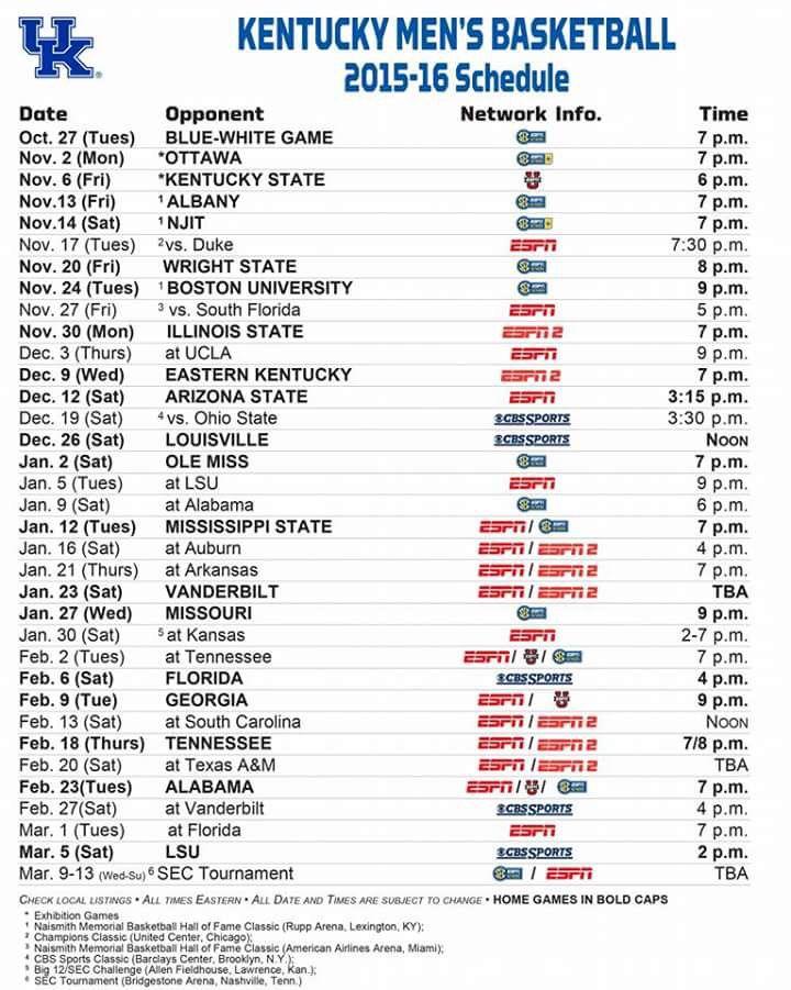 2015/16 UK Basketball Schedule ⏰