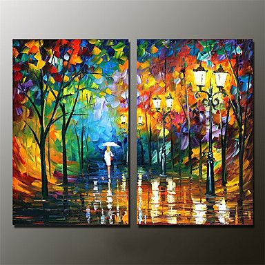 Hand-Painted Abstract Landscape 100% Hang-Painted Oil Painting,Modern Two Panels Canvas Oil Painting For Home Decoration 5410746 2017 – $116.44