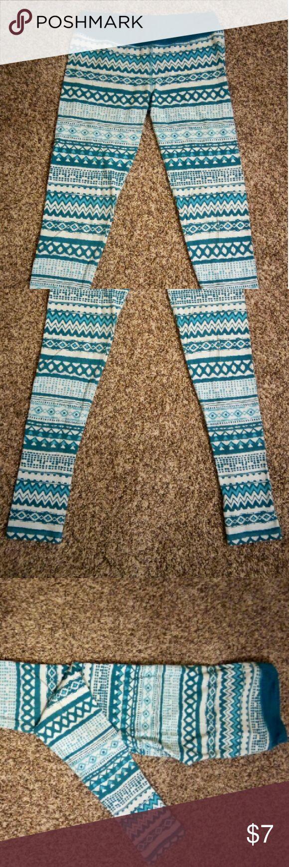 Aztec Pattern Leggings Blue Aztec Pattern Leggings, 95% cotton, 5% spandex Pants Leggings