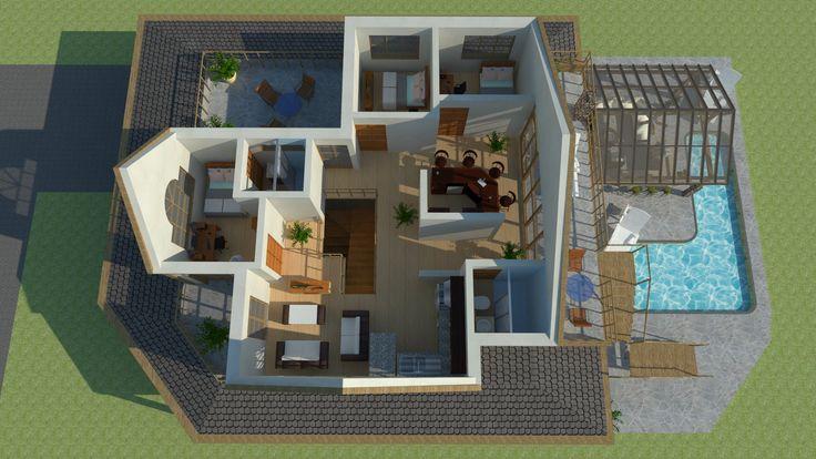 Diseños y planos de casas de campo de uno y dos niveles Sketchup Autocad k1