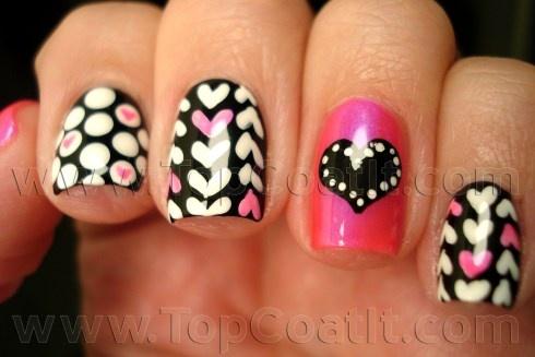 Valentines Pink Black White Nails Pinterest Pink