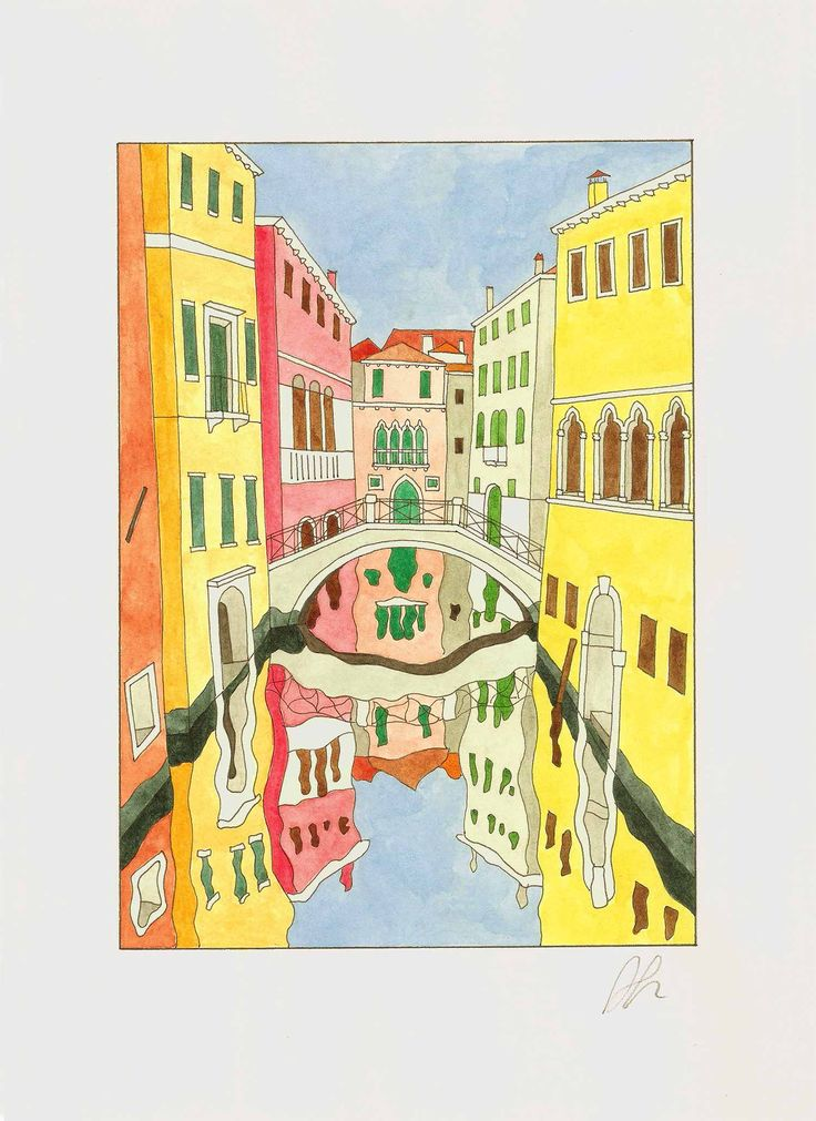 Piscina de Frezzaria Bridge #Venice #bridge #art #watercolor