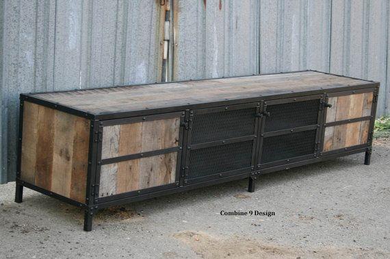 Vintage Industrial Media Console/Credenza. Retro, Rustic, Urban/Modern Design. Reclaimed Wood (buffet, hutch, sideboard) Mid century.