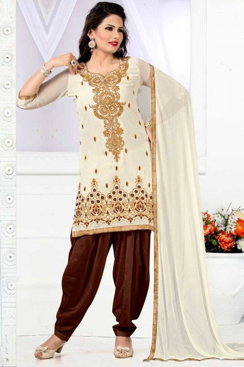 Beige Georgette Salwar Suit online  http://www.andaazfashion.co.uk/salwar-kameez