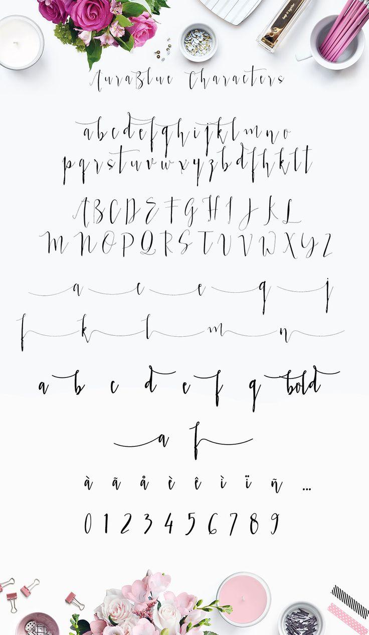 Aura Blue, Modern Calligraphy Font by mycandythemes on Creative Market