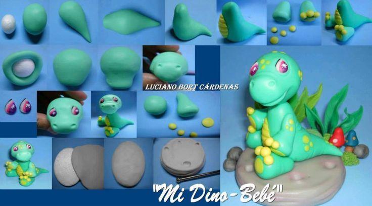 Mini dinosaur baby fondant tutorial