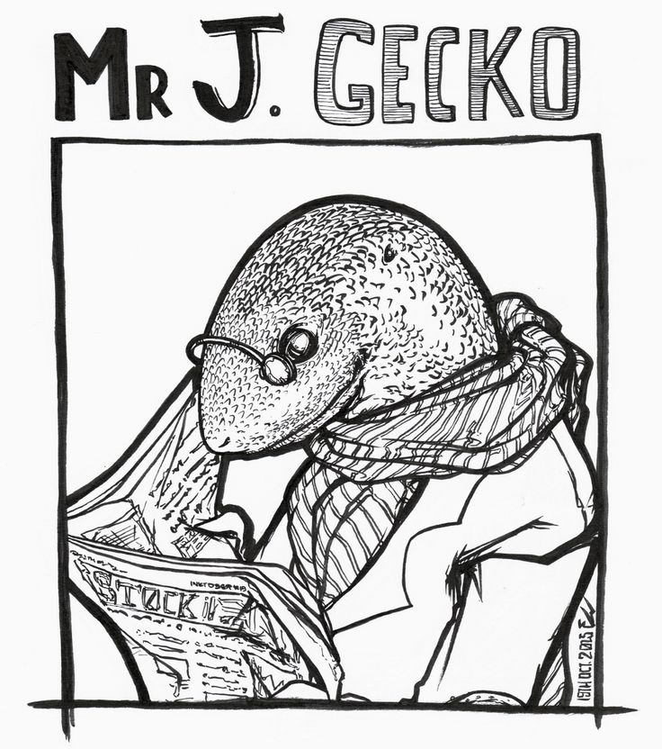 #inktober2015 -19- Meet the busy mr J. Gecko, who's always on top of the latest business news.