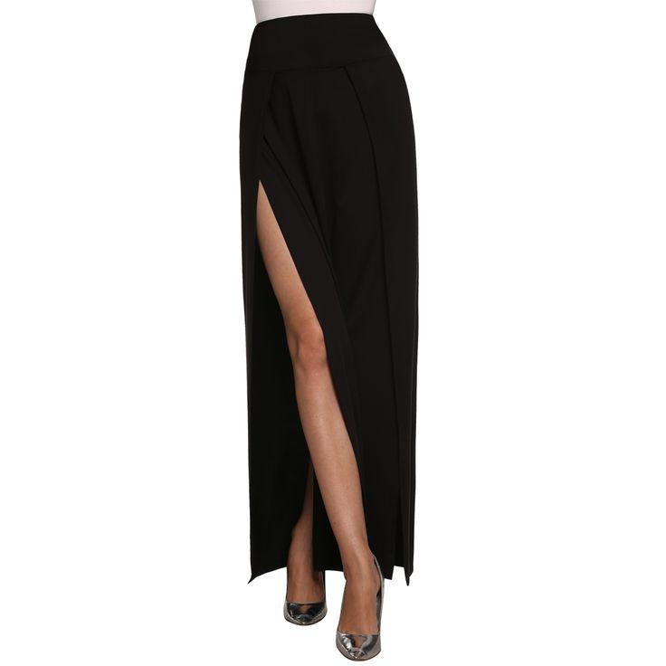 Finejo Black Side Elastic FESTIVAL Skirts
