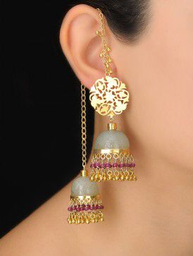 Kashmiri Jhumka grapes aventurine with ruby drops !! Stone jhumka