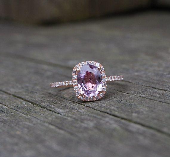 2ct Cushion peach lavender champagne sapphire 14k rose gold with diamonds