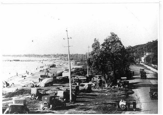 Sunday at Frankston beach, circa 1930s | Flickr - Photo Sharing! I'd love to go back one sunny day for an hour or so for a swim on that beach.