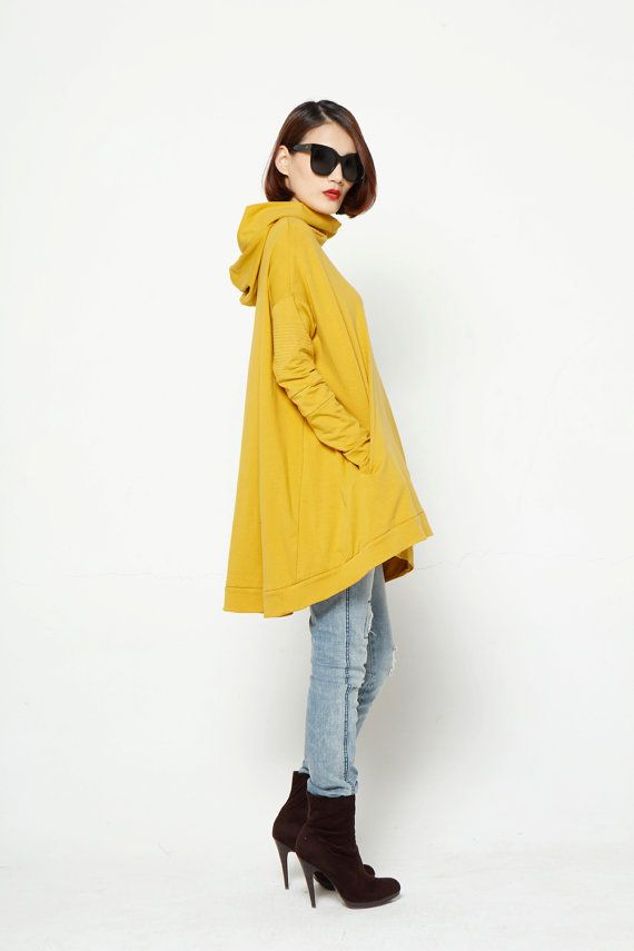 Lagenlook Hoodie Cape Style Top Fashionable Hooded Cotton Top in Yellow for Women - NC370