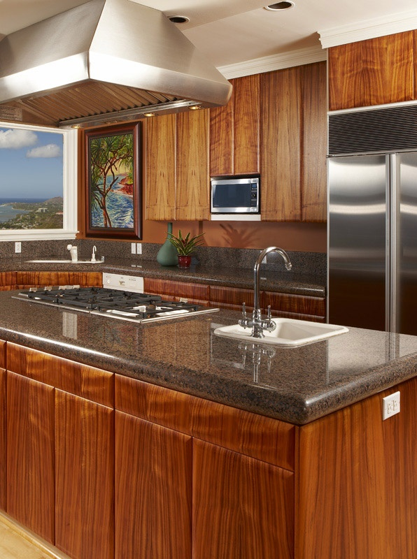 Koa Wood Kitchen Cabinets Custom Koa Cabinetry With Pillow Edge Detail, Compliments