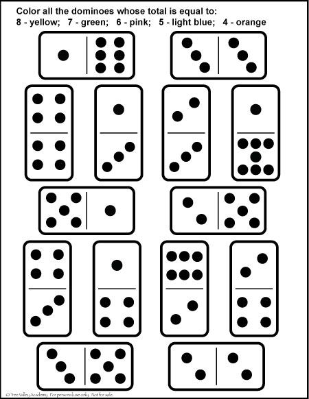 Free Math Printable. Number Bonds of 4, 5, 6, 7 & 8. Fun domino colouring page.