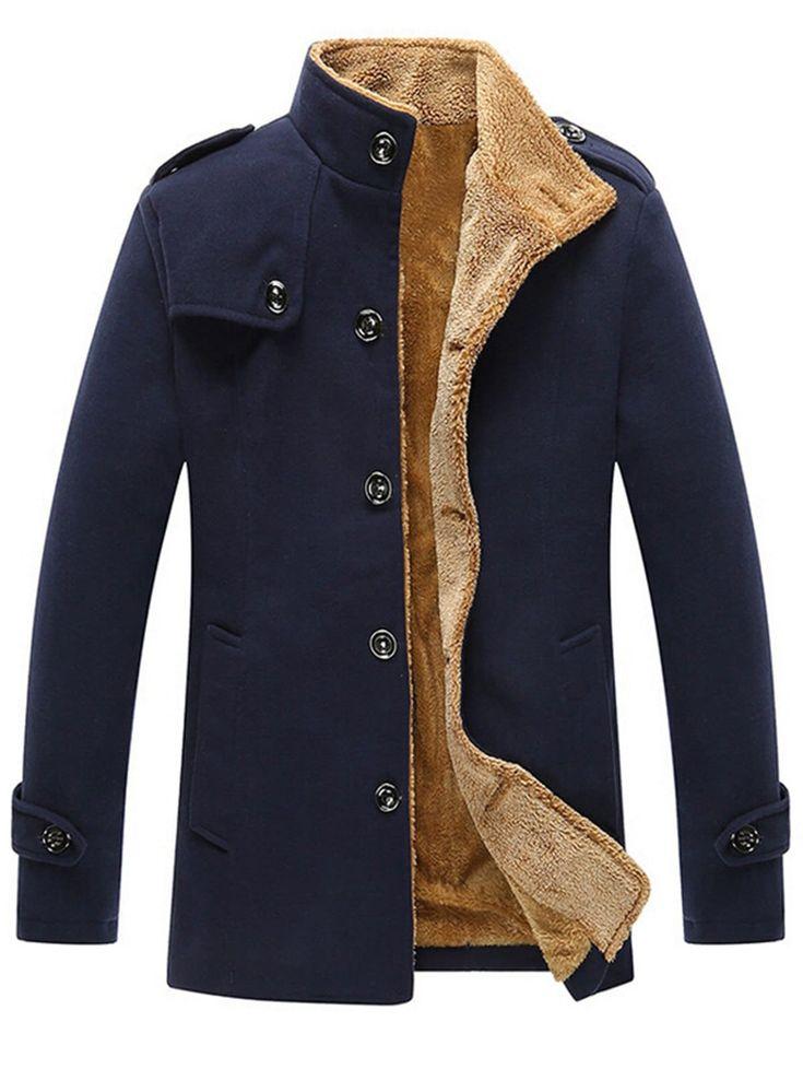 Epaulet Singe Breasted Plush Lined Fleece Jacket - BLUE 4XL