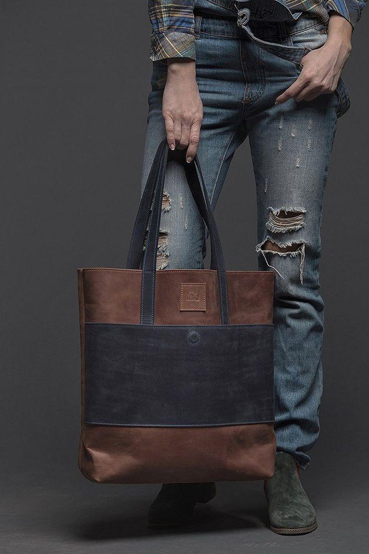 Leather tote bag Leather bag woman Shopper bag Shoulder | Etsy