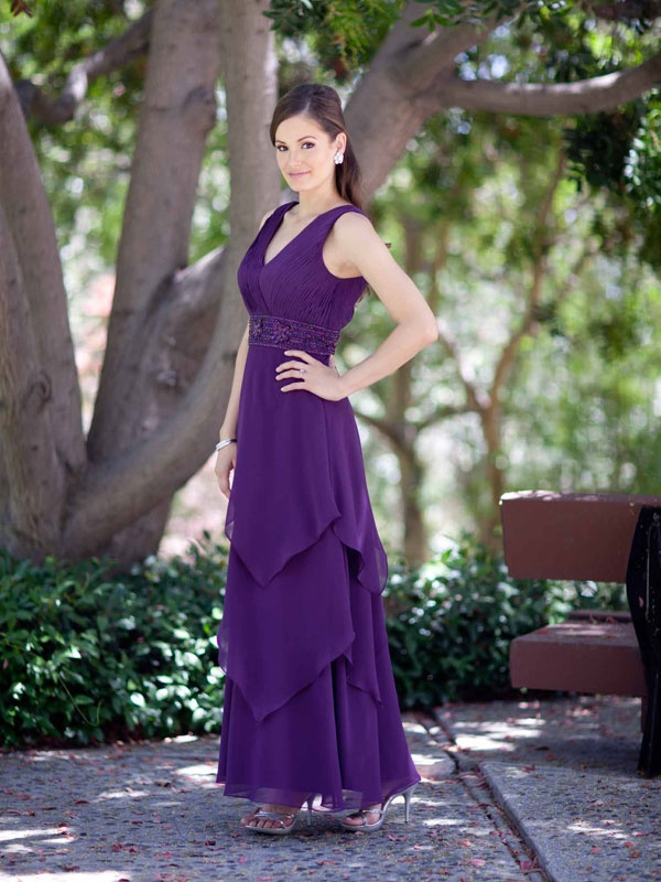 Fashion v-neck chiffon beading dress for mother of the bride