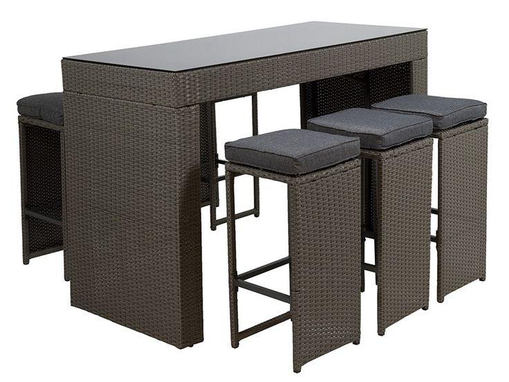 mesa y taburetes altos para terraza y jardn