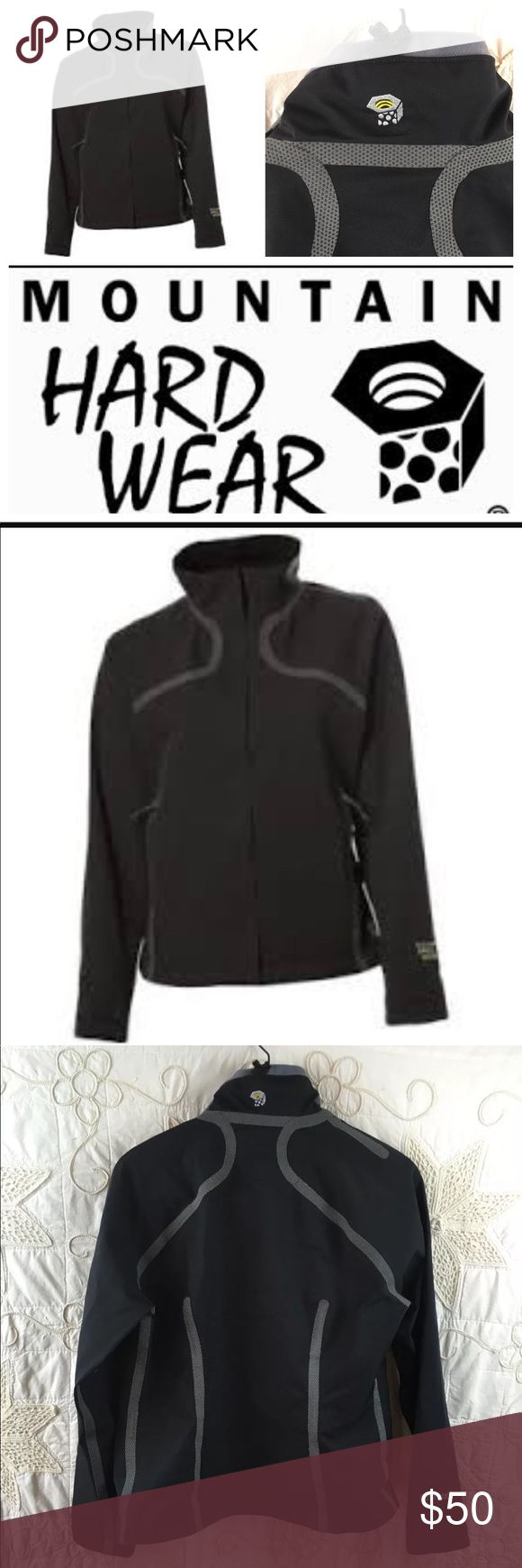 """Mountain hard ware synchro jacket size small What would you say to a soft-shell jacket that is warm, soft, breathable, stretchy, durable and waterproof to boot? Say hello to the Synchro Jacket Made from 3-layer Conduit™ Softshell stretch-woven nylon, it incorporates a waterproof, breathable laminate and soft microfleece lining Flexible, taped exterior seams and watertight zippers ensure truly waterproof protection All measurements are flat lay Bust 20"""" Waist 17"""" Sleeves 24"""" Shoulders 16""""…"""